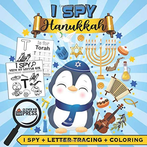 I Spy Hanukkah: 3-in1: I Spy + Letter Tracing + Coloring - ABC Handwriting Practice - Fun Hanukkah Activity Book for Kids Ages 3 and up, Toddlers and ... Book - Best Hanukkah Gift for Kids