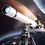Telescopios refractores, telescopio de 700/70 mm para principiantes, telescopio de viaje astronómico profesional para adultos, con trípode + visor buscador + mochila de viaje + 2 oculares + 3 lentes