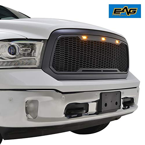 EAG Replacement Front Grille Upper Grill - Charcoal Gray - with Amber LED Lights Fit for 13-18 Dodge Ram 1500