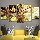 5 piezas cuadro en lienzo Cuadro compuesto por 5 lienzos impresos en HD, utilizados para decoración del hogar y carteles Caballero del zodíaco de dibujos animados (150x80cm sin marco)
