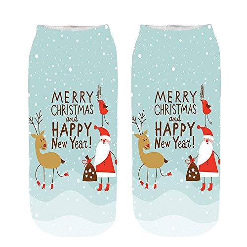 Dasongff Socken Bunt mit Lustigen Motiven Print Socken Motivsocken Damen Herren Weihnachten Muster Knöchelsocken Santa Schneemann Weihnachtssocken Schneeflocke Elk