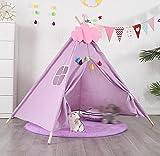 Fnho Tienda de campaña de Princesa para niños Castillo Plegable,Tienda Tipi niños pequeña,Carpa para niños de Interior, Carpa India Play House-Purple_1.35M