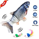 Electric Moving Fish Cat Toy Dog Chew Toy, Bite Toy for Indoor Cats Dogs Plush Toy for Kitten Puppy Kicker Fish Toy Pillow for Cats Dogs Catnip Cat Fish Toy Interactive Training Toy for Pet Squeak Toy
