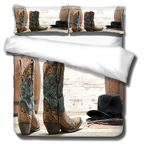 Duvet Cover Double Bed Set Soft Printed Bedding Set Cowboy Boots 1 Quilt Cover and 2 Pillow Cases Microfiber Anti-Allergic Luxurious Smooth Quilt Duvet Cover Set 200x200cm