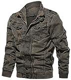 chouyatou Men's Casual Long Sleeve Zip Lightweight Military Flight Cotton Bomber Jacket (XX-Large, Grey)