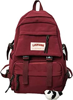 Girl Solid Color School Bag,Fashion Simple Waterproof Nylon Schoolbag, Teen Student Light Breathable Save Effort Backpack,Red