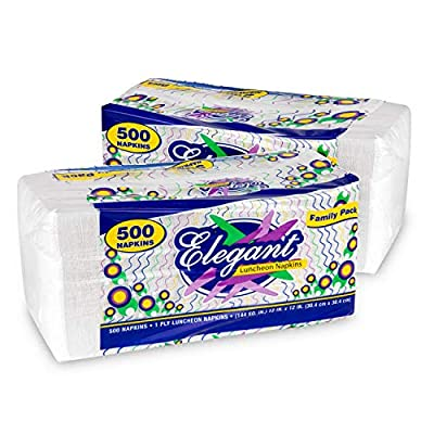 Stock Your Home 12 Inch Disposable Napkins - 1 Ply White Dinner Napkins - Recyclable Paper Napkins for Dinner, Parties, Crafts, Daily Use - 1000 Pack