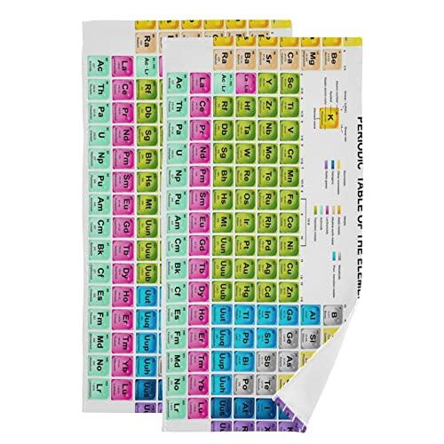 PUXUQU Toalla de mano, 2 unidades, tabla periódica de los elementos, toalla facial para baño, cocina, hotel, playa, viajes