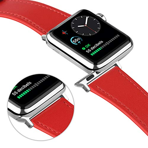 Tobfit Leather Bands Compatible with Apple Watch Band 38mm 40mm 42mm 44mm Women Men, Top Grain Leather Wristband, red, 38mm/40mm