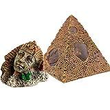 LOOPIG 2 piezas de decoración de acuario de Egipto antiguo faraón + pirámide de resina