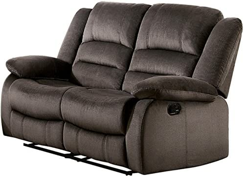 Best Homelegance Jarita Reclining Loveseat Polyester Fabric Cover, Chocolate