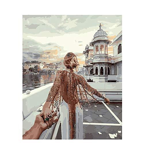 OLGKJ Gemälde nach Zahlen DIY Sehnsucht nach dem Dach Figur Leinwand Hochzeitsdekoration Kunst Bild Geschenk