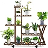 Wood Plant Stand Indoor Outdoor, Plant Display Multi Tier Flower...