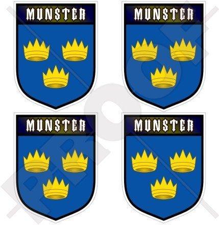 MÜNSTER Provinz Irland EIRE Irisch Schild 50mm Auto & Motorrad Aufkleber, x4 Vinyl Stickers