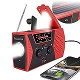 [2021 Premium Version] Emergency-Solar-Hand-Crank-Radio,Puiuisoul Portable NOAA Weather Radios with AM/FM, Alarm,Reading Lamp,2000mAh Power Bank (Red)
