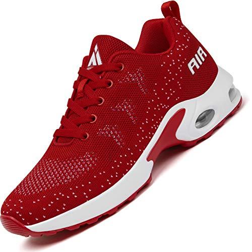 Mishansha Sportschuhe Damen Air Straßenlaufschuhe Frauen Dämpfung Laufschuhe Leichtes Bequem Sneaker Rot, Gr.39 EU