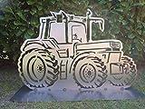 Gartendeko Fockbek Metallfigur Gartenfigur ca. 60 x 96 cm (Motiv Trecker 3') Trecker Traktor Landwirtschaft