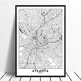 Leinwanddruck,Atlanta Schwarz Weiß Benutzerdefinierte Welt