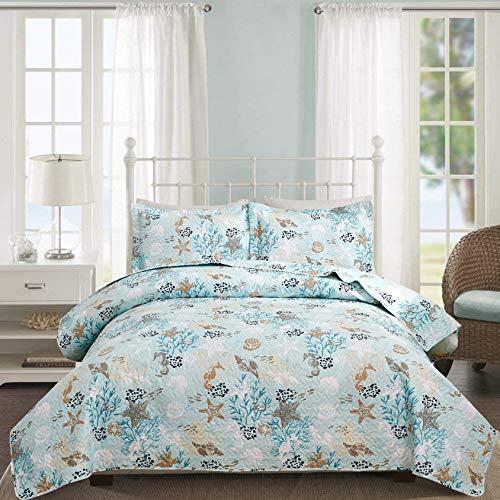 3-teiliges Stranddecken-Set für King-Size-Betten, blau-grünes Ozean-Motiv, Tagesdecke, Muschel, Seestern, Koralle, Seepferdchen, Decken, Hütten, Küsten