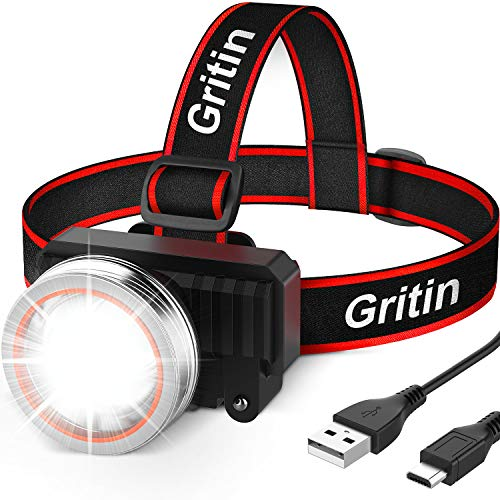 Gritin LED Head Torch, USB Rechargeable Headlamp Headlight - Super Bright...