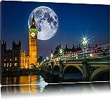 Big Ben vor großen Mond in London Format: 120x80 auf