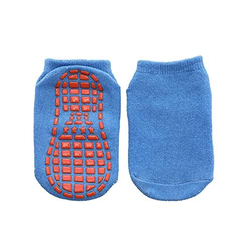 LiangWan Calcetines Antideslizantes para niños, Gimnasia, trampolín, Calcetines para niños, 10 Pares, Antideslizantes, Antideslizantes, con Agarre Adhesivo, Calcetines para Pilates, Ballet,Blue-L