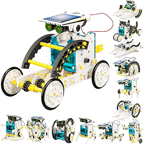 Spitin 13-in-1 Solar Power Robots Creation Toy, Educational Experiment DIY Robotics Kit, Science Toy Solar Powered Building Robotic Set Age 8-16 for Boys Girls Kids Teens to Build (Solar Robot)