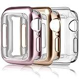 Amzpas 3 Pezzi Cover per Apple Watch Custodia Series 5/ Series 6/ Series 4 40mm, Protezione Completa a 360° Custodia Rigida PC per Apple Watch Series 4/ Series 5 (40mm, Oro Rosa/Trasparente/Rosa)