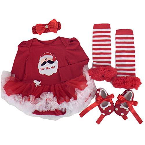Jyuesi Praktische 4 Stks Set Baby Meisje Kerstman Outfits Set Kerst Romper Jurk Kleding Tutu Rok Outfit + Schoenen + Been Warmer + Hoofdband Lange Mouw Jumpsuit XL C
