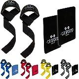 C.P. Sports Hardre-Set (1 ayuda de tracción acolchada + 1 almohadilla de agarre), ayuda para entrenamiento de fuerza, deportes de fuerza, culturismo, mancuernas (Camooliva)