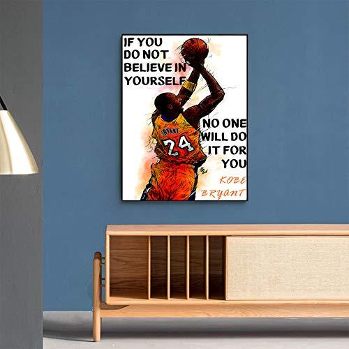 123 Life Citas Motivacionales De Kobe Bryant, Impresiones De Arte De Pared De Kobe Bryant, Lienzo De Póster De Baloncesto para La Decoración De La Habitación del Niño Sin Marco (12x16inches/30x40cm)