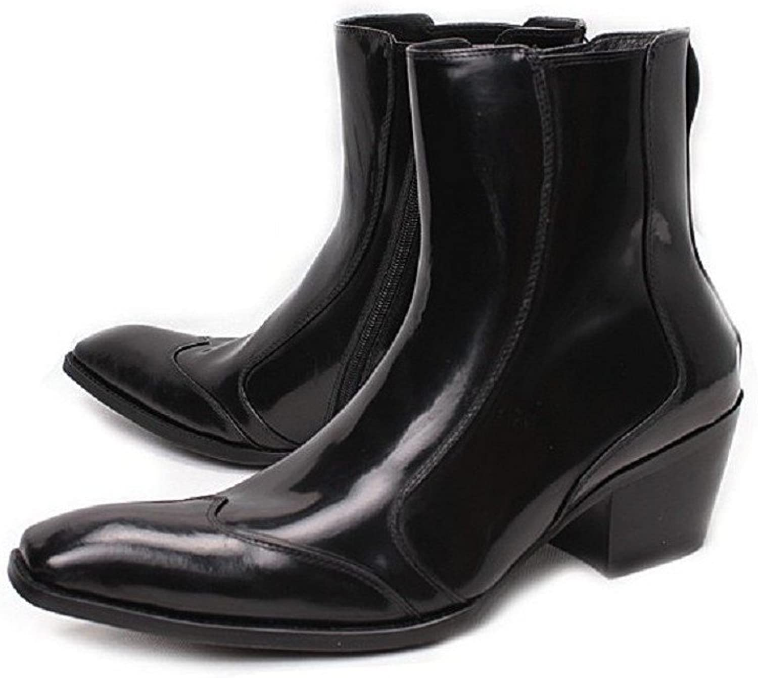 2 color US Size 5-12 Zipper Leather Formal Dress Loafer Mens Ankle Boots shoes