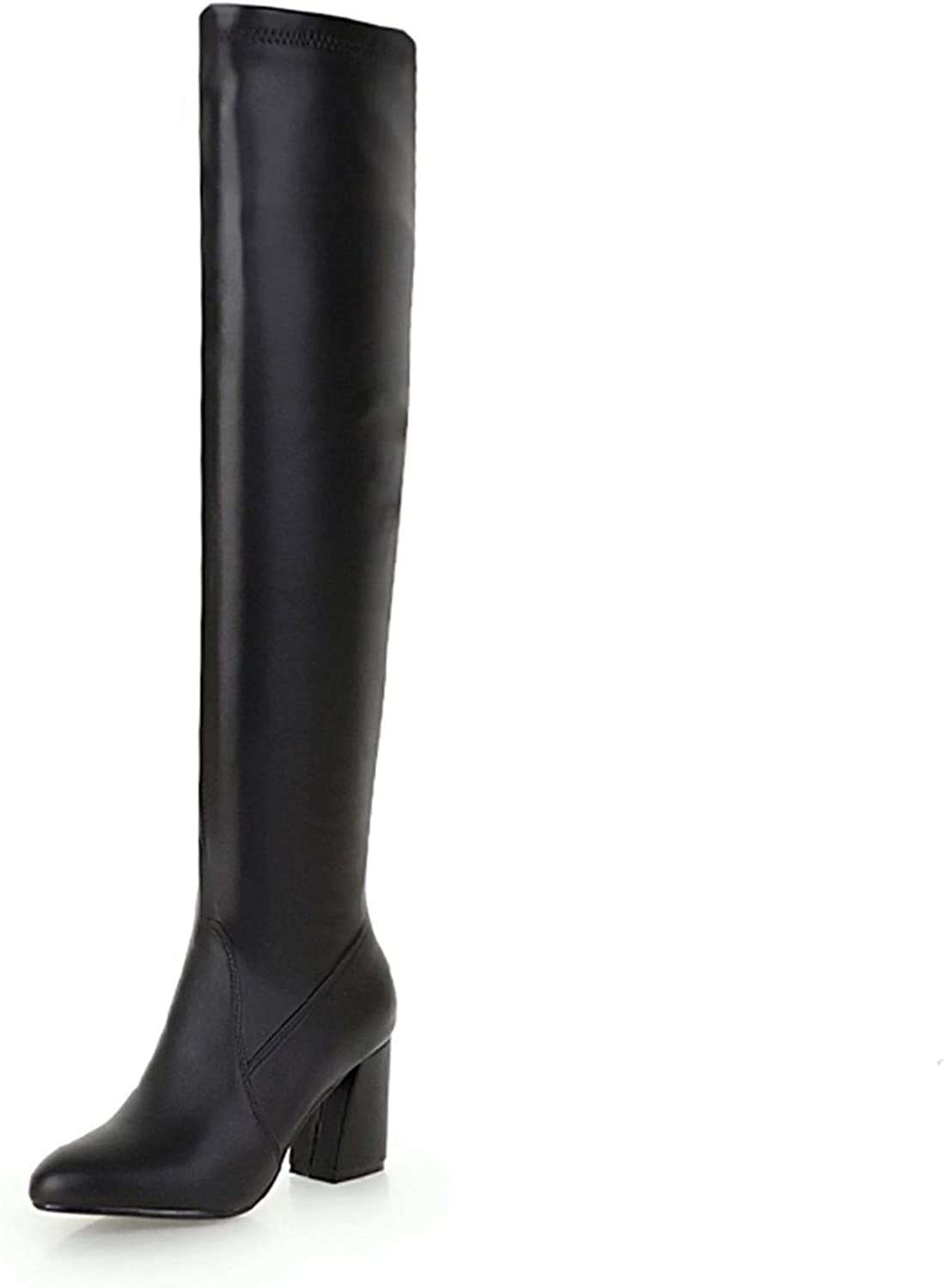 Over The Knee Women Boots Pu Thick High Heels Boot New Pointed Toe Female shoes Winter Warm 48