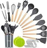 NEXGADGET Ensemble d'Ustensiles de Cuisine de 30 Pièces, Set de Cuisine en Silicone avec Support, Pinces, Grattoir, Fouet, Louche.