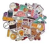 ZJJHX Japón y Corea del Sur Papelería Útiles Escolares Cute Hand Account Stickers Cuaderno Maleta de Viaje Refrigerador Niños Pegatinas Impermeables 40 Hojas
