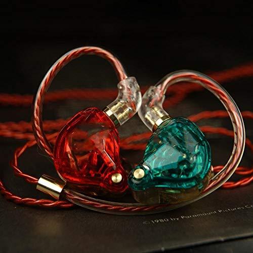 WH-IOE Gaming Headset 3,5 mm Commande Filaire HiFi Casque Câble détachable Dynamique conducteur Subwoofer in-Ear Gaming Headset Rouge Vert Réduction du Bruit de Confort (Color : Red+Green, Size : M)