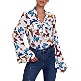 Luckycat Casual de Mujer Solid Camisa Manga Larga Blusa Cami