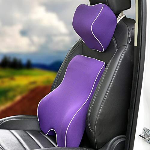Reposacabezas Coche ZWRY Cojín automático para Coche, cojín de Cintura con Soporte Lumbar para Asiento de Coche, Almohada para el Cuello, Espuma viscoelástica, Almohada para el Dolor Lumbar
