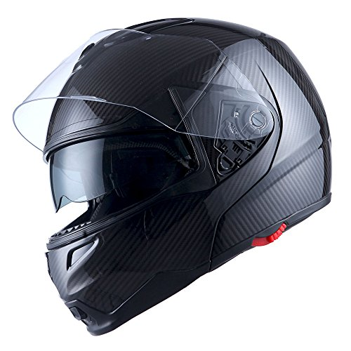 1Storm Motorcycle Street Bike Modular/Flip up Dual Visor/Sun Shield Full Face Helmet (GlossyPink, XX-Large)