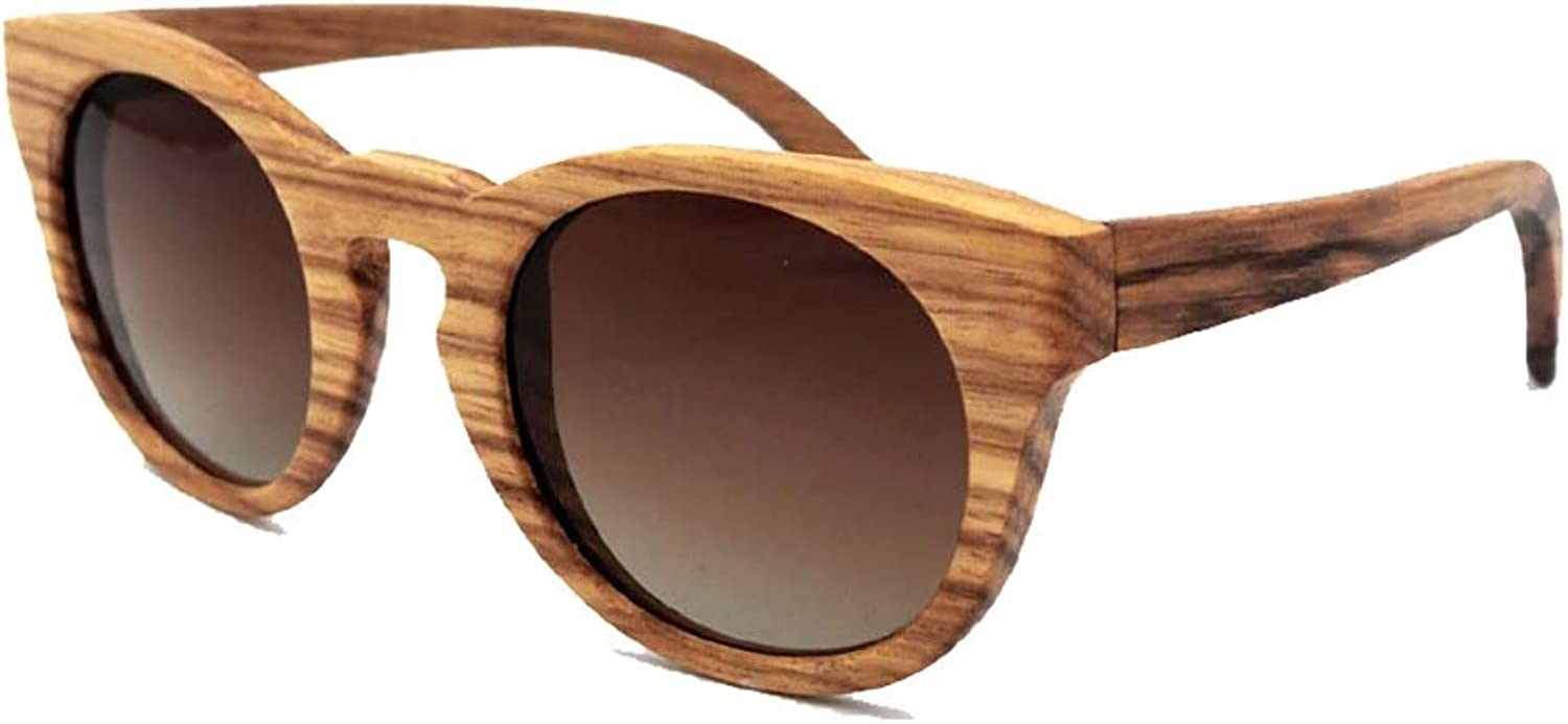 Saalising Vintage Round Wood Frame Sunglasses, Outdoor Sunglasses for Men and Women (color   Brown Gradients)