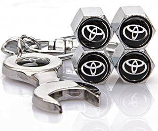 Automaze Tyre Valve Caps for Cars   Chrome Colour, Tire Air Stem Caps   for Toyota Cars