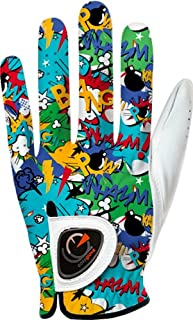 easyglove Comics_Bang-Blue Men's Golf Glove (White)