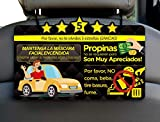 AtoZ Box - Bilingual (ENG/SPN) Keep Face Mask On, Tips, and Five Stars Rating Reminder Sign for Rideshare Driver (Uber & Lyft) Plastic Both Sides Printed