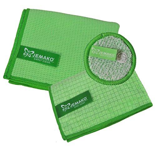 JEMAKO 3er Set Trockentuch mittel 45x60 cm Profituch klein 35x40 cm Duopad grün mini Ø 9,5 cm (Grün)