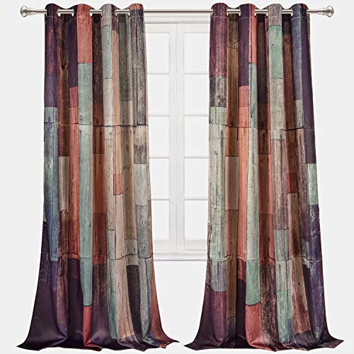 VERTKREA Wooden Window Curtain, Wood Window Curtains, Planks Curtains, Hardwood Drapes for Room, Set of 2 Panels, 52 x 84 Inches