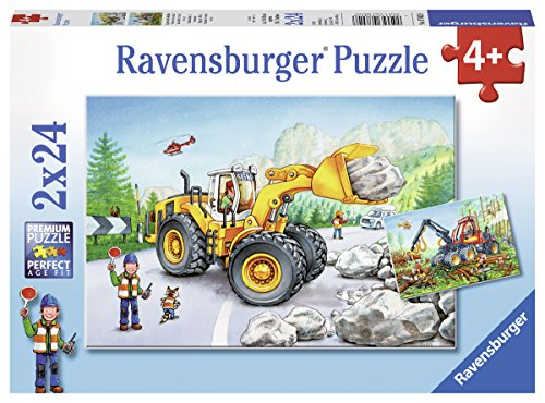 Ravensburger Kinderpuzzle 07802 - Bagger und Waldtraktor - 2 x 24 Teile
