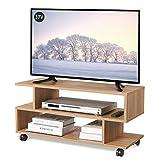 WLIVE テレビ台 テレビボード ローボード キャスター付き 幅88×奥行30×高さ39cm 24-37V対応 キャスター外しても利用可能 ロータイプ AV機器対応 コンパクト 組立簡単 オーク WF0052B