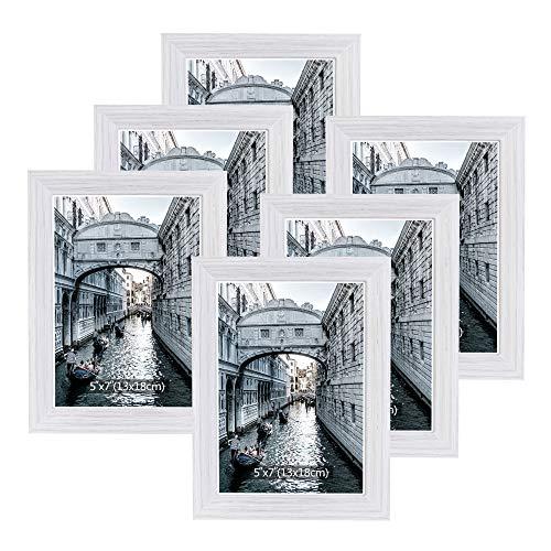 Metrekey Bilderrahmen 13x18 cm Set 6 Holz Weiß Vintage Glas Fotorahmen Portraitrahmen mit Halterung und Haken für Tischplatte und Wanddekoration