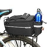 Alforja para bicicleta, portaequipajes plegable, gran capacidad de 10 l, con bolsa de hervidor de agua, forro de aislamiento térmico (negro)