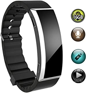 16GB Voice Recorder Bracelet, BestRec Audio Voice Activated Wrist Recording Device for Lectures, 20 Hours Working, Easy One Button Operation(No Screen Display)(Silver Surface)